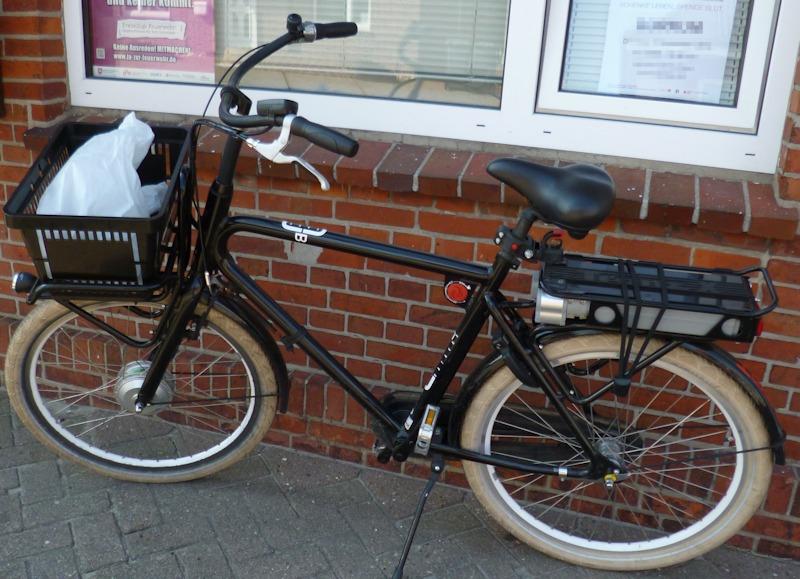 Ein mittels Pedelec Umbausatz umgebautes Fahrrad