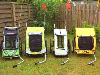 Fahrradanhänger Test - 4 Anhänger nebeneinander
